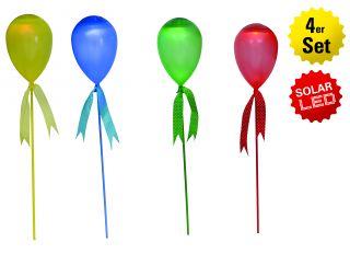 "4er-Set LED Deko-Solar ""Ballon"" als Spieß oder hängend"
