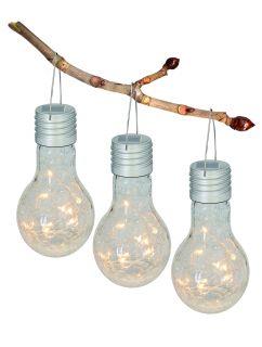 "3er-Set LED Deko-Solar-Pendel ""Crackle Bulb"""