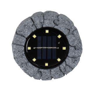 3er-Set LED-Solar Bodenleuchte mit Erdspieß - d:11,5cm grau