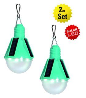 2er-Set LED Solar-Pendelleuchte türkis