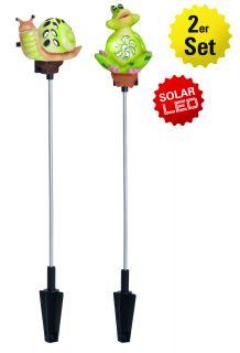 """2er-Set LED-Solarspieß """"Frosch/Schnecke"""""""