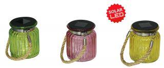 3er-Set LED Deko-Solar-Glas mit Kordel