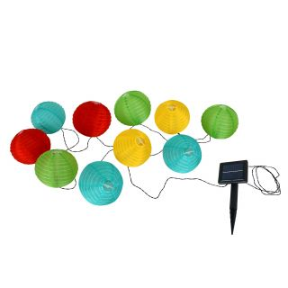 LED Japanballon-10er-Solar-Lichterkette bunt