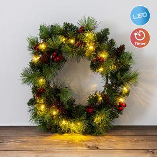 LED-Weihnachtskranz mit Beeren und Tannenzapfen - d: 35cm