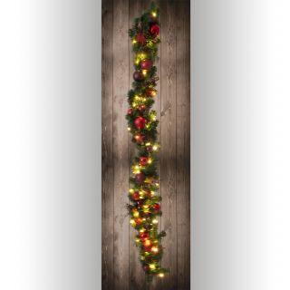 LED-Weihnachtslichterkette mit Dekoration l: 100cm - rot