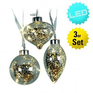 3er-Set LED-Glaskugeln