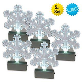Fensterbild LED-Schneeflocke 5er-Set